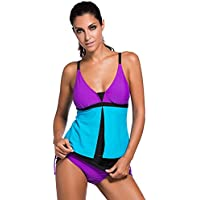 EVALESS Womens Summer Colorblock Bandeau Tankini Top and Skort Bottom Swimsuit(S-3XL)