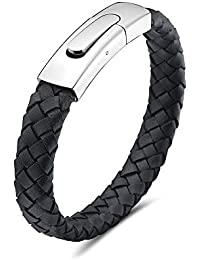 """My Daily Styles Mens Black Genuine Leather Bracelet with Stainless Steel Magnetic Button Lock 8.5"""""""