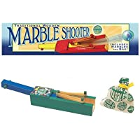 Traditional Wooden Marble Shooter with Marbles in Cotton Bag