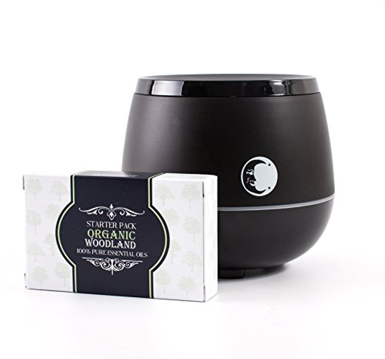 封筒傾くクールMystic Moments | Black Aromatherapy Oil Ultrasonic Diffuser With Bluetooth Speaker & LED Lights + Organic Woodland...