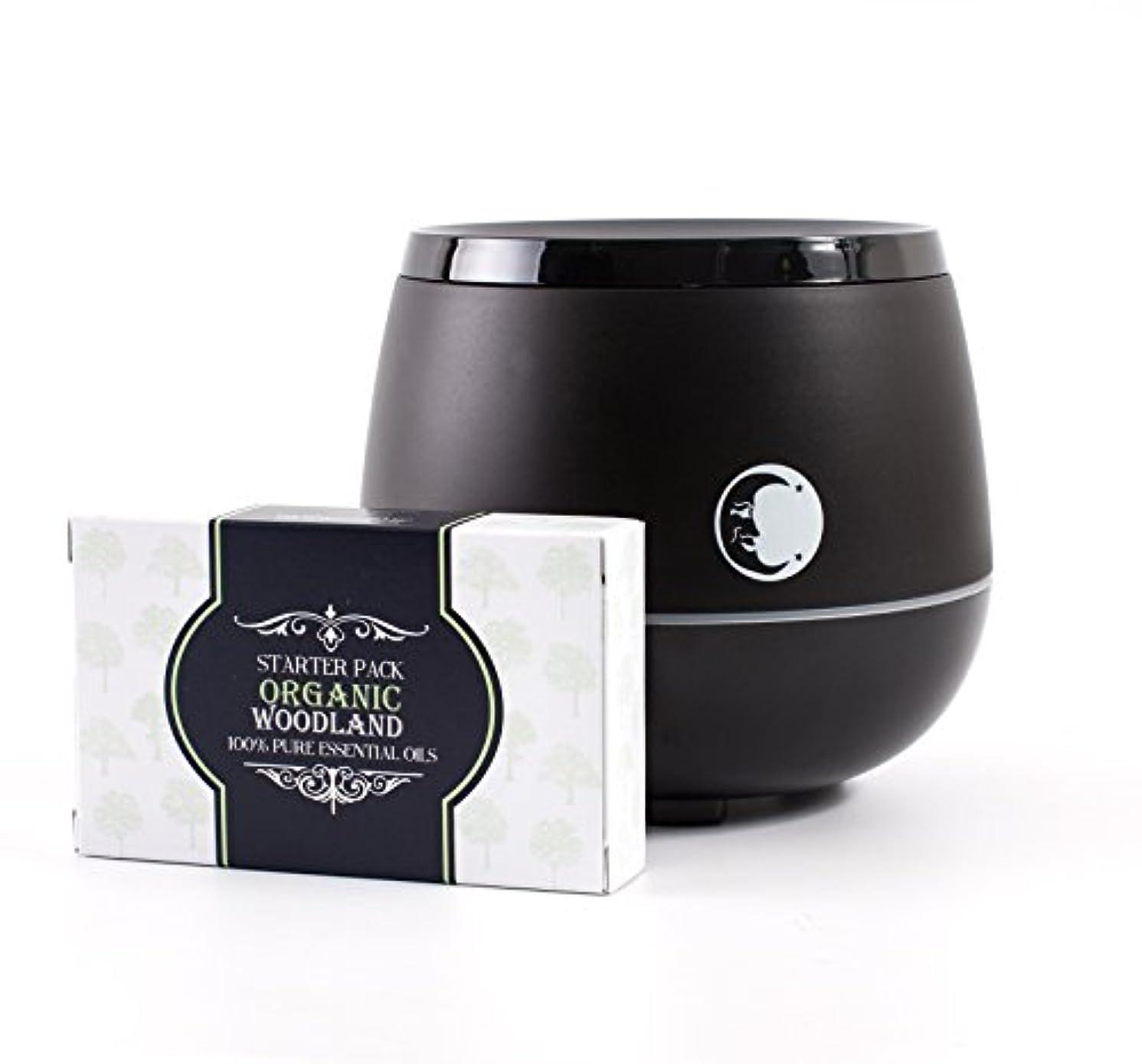 フラグラント挨拶するバスタブMystic Moments | Black Aromatherapy Oil Ultrasonic Diffuser With Bluetooth Speaker & LED Lights + Organic Woodland Essential Oil Gift Starter Pack