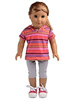 Pink Striped Short Sweater with Hat Pants Sets Fits 18 Inch American Girl Doll Clothes [並行輸入品]