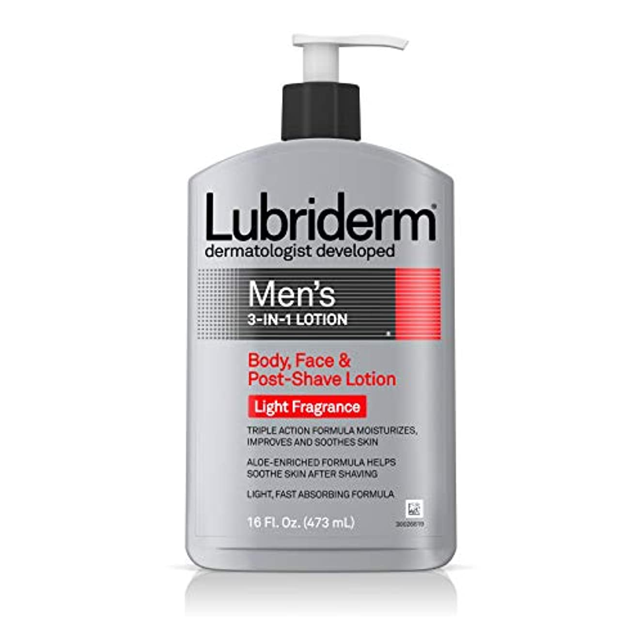 不十分な受付忌避剤Lubriderm メンズ3-IN-1ボディローションライトフレグランスで、16フロリダ。オズ