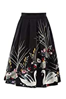 Romancly Womens Slim Casual Printed High Waist Plus-size Slim Fitted Skirt Black L
