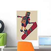 Robot Riding Snowboard Wall Mural by Wallmonkeys Peel and Stick Graphic (18 in H x 13 in W) WM290404 [並行輸入品]