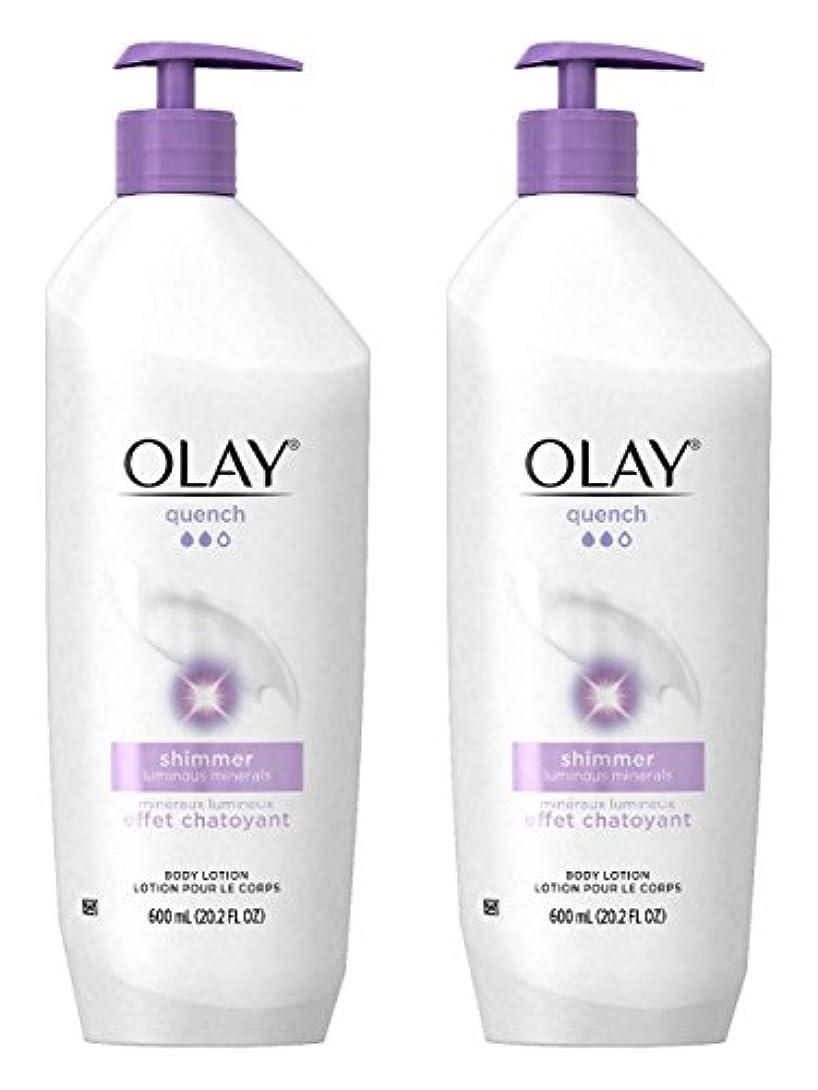 シャトル経由でむき出しOlay Quench Daily Lotion Plus Shimmer Body Lotion 20.2 Fl Oz (Pack of 2) by Olay [並行輸入品]
