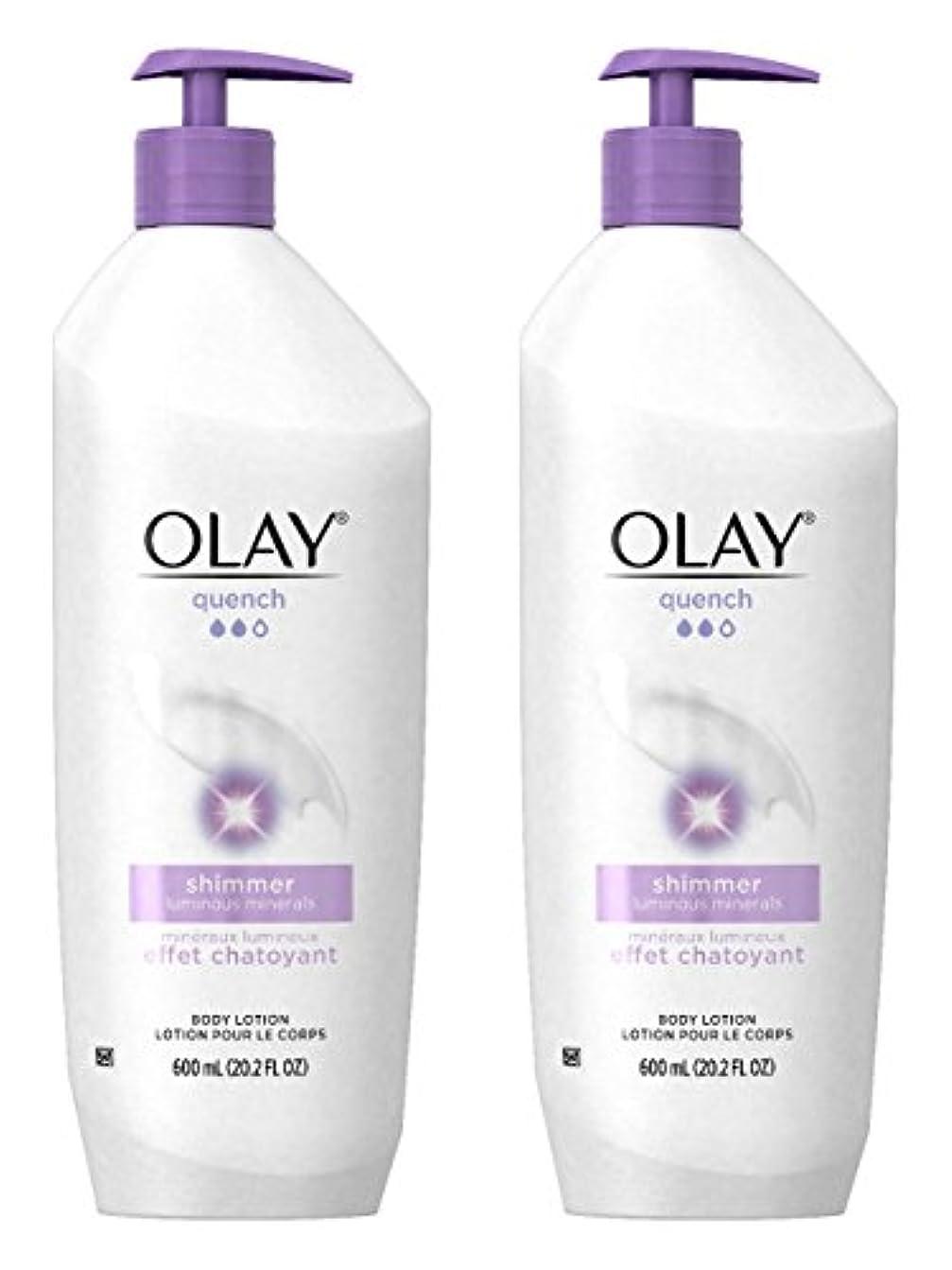 リーズ勇敢な舌なOlay Quench Daily Lotion Plus Shimmer Body Lotion 20.2 Fl Oz (Pack of 2) by Olay [並行輸入品]