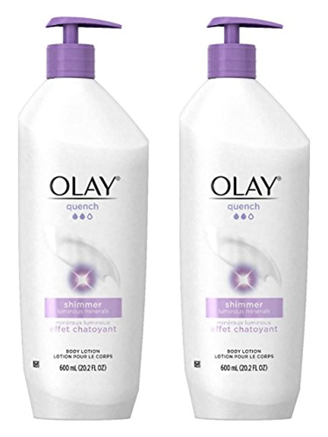 排泄物有効愚かなOlay Quench Daily Lotion Plus Shimmer Body Lotion 20.2 Fl Oz (Pack of 2) by Olay [並行輸入品]