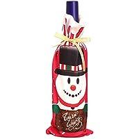 クリスマス 雪だる まサンタクロースレッドワインボトル カバー バッグ クリスマス オーナメント ホーム インテリア C