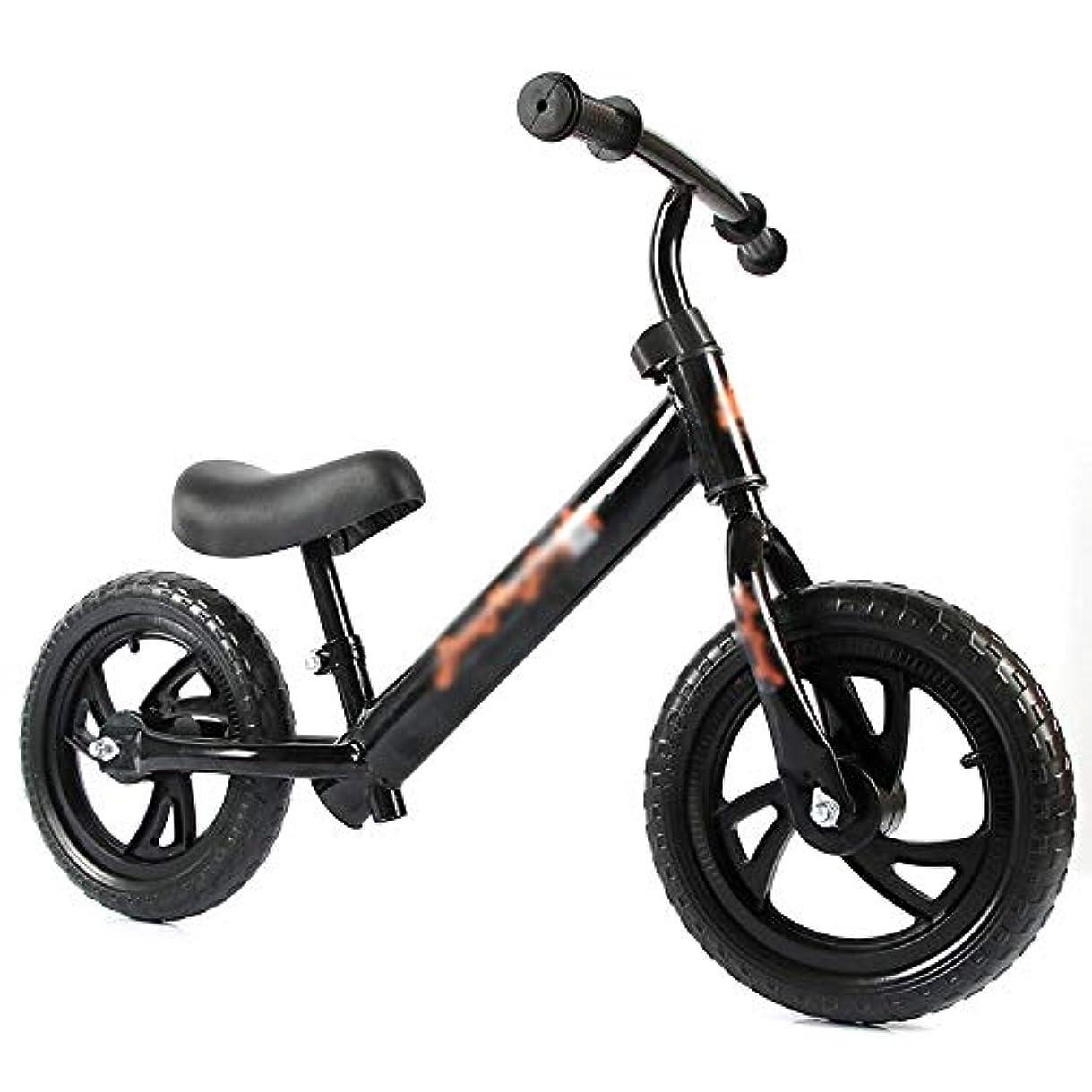 センター論争的ふざけたバランスバイク、ベアリングホイールセット、ガールアンドボーイスライディングステッパー、二輪スクーター、ペダルなし、2-6歳、(色:黒)