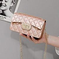 ハンドバッグバッグハンドバッグショルダーメッセンジャーバッグメスチェーンスモールバッグマットゼリーパッケージ-ピンク