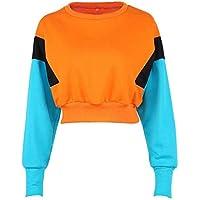XuBa New Women Spring Autumn Cute Colorblock Orange Hoodies Long Sleeve Loose Crop Top Sweatshirt Casual Patchwork Clothes