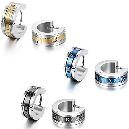 JewelryWe 大切な人や,彼氏・彼女へのプレゼント:ローマ数字 ステンレスピアス フープ イヤリング メンズ,カラー:ゴールド(金);ブラック;青[ギフトバッグを提供]