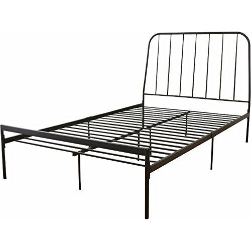頑丈設計シンプルシングルベッド ブラック