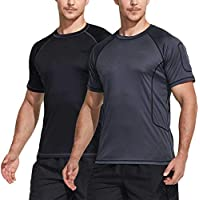 TSLA 1 or 2 Pack Men's Rashguard Swim Shirts, UPF 50+ Loose-Fit Short Sleeve Shirt, UV Cool Dry fit Atheletic Water Shirts