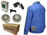 空調 服 作業服 ファン バッテリー セット 夏 ワークウェア 現場工事 長袖ブルゾン 綿 熱中症対策 (XL, 青)