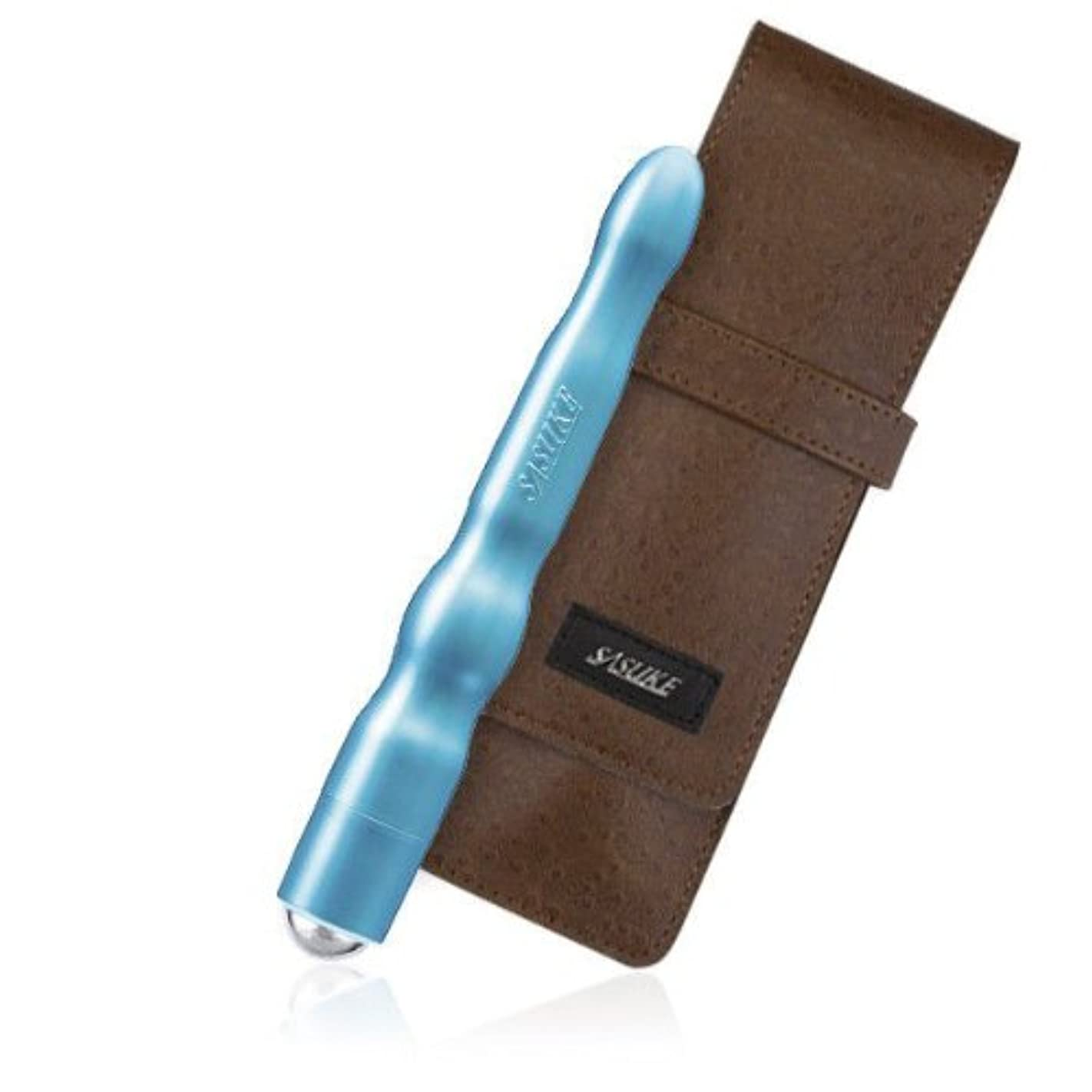 スクラップブック薬用眠りSASUKE ツボ押しローラー (ヒーリングブルー)+ 専用ケース (クラッシックブラウン)セット
