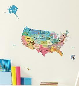 ウォールステッカー アメリカ地図 PS-61006