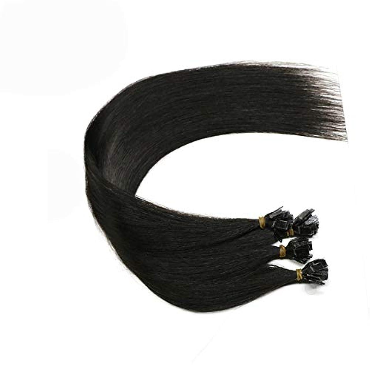二次瞑想ルアーJULYTER ナノリング613ハニーブロンド最軽量の二重Raddled 100%人毛エクステンション (色 : 黒, サイズ : 20 inch)