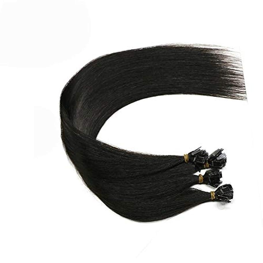 ここにキロメートル切り離すWASAIO シームレスな髪型の交換本物の人間ブロンド最軽量三重ブラック描かれたヘアエクステンションクリップ (色 : 黒, サイズ : 26 inch)