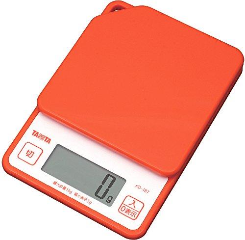 タニタ デジタルクッキングスケール 1kg オレンジ KD-...