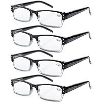 Eyekepper 4-pack Spring Hinges Rectangular Reading Glasses Black +2.50