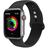 Ontube Bands Compatible with Apple Watch,Soft Silicone Adjustable Sport Replacement Straps for iWatch Series 4/3/2/1 (42MM/44MM, Black)