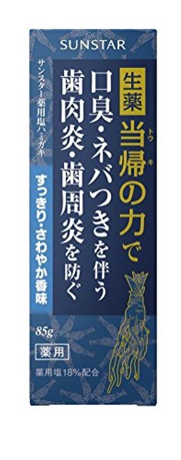 届けるヒョウ実行可能サンスター薬用塩ハミガキ 当帰の力すっきりさわやか香味 85g (医薬部外品)