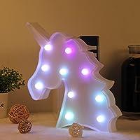 LEDライト ユニコーンランプ ベッドサイド 夜の光 WHATOOK 電池操作された 変更可能な夜間照明 室内装飾 居間用ランプ壁装飾 ベッドルーム、家、クリスマス 子供たちのおもちゃ (カラフル)