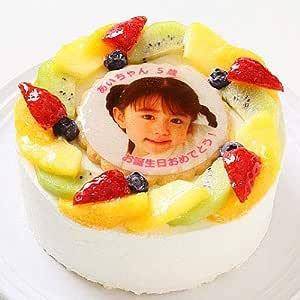 卵不使用ケーキ 写真ケーキ フレッシュフルーツ乗せフレッシュ生クリームのショートケーキ 5号 15cm