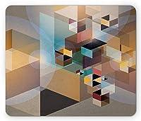 現代美術のマウスパッド、抽象的な幾何学的な三角形と斜めのイメージの視点から見たレトロなデザイン、標準サイズの長方形の滑り止めラバーマウスパッド、多色