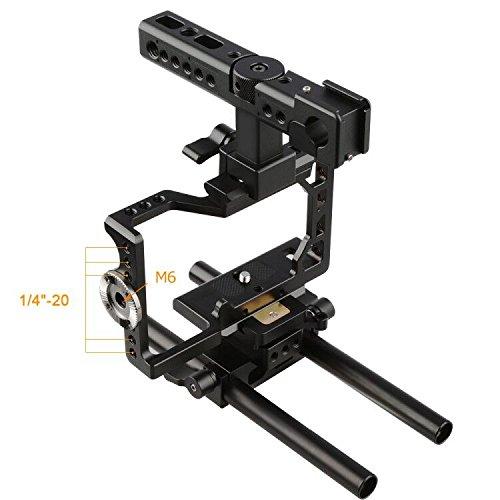 CAMVATE カメラケージキット ARRIロゼット 兼用 HDMIロック付け トップハンドル:15mmロッドクランプ 2点シューマウント付き ソニーA6500 A6300用