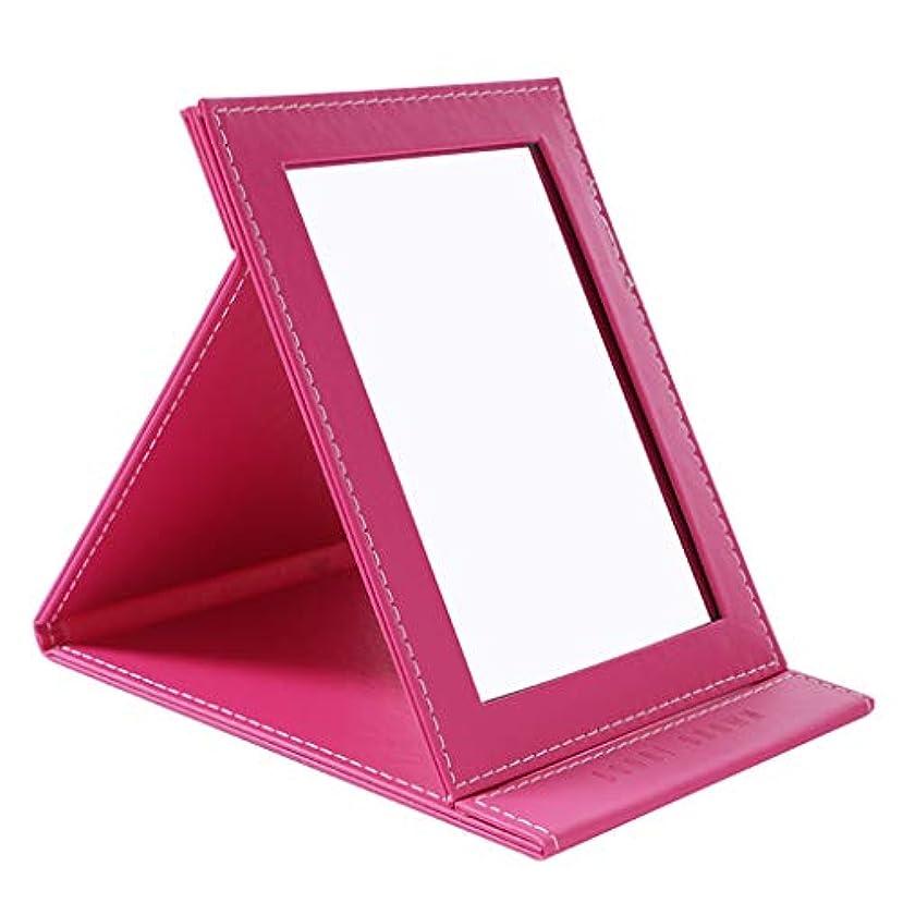 テキストアコーデスクトップの虚栄心ミラーHD折りたたみミラー卓上化粧鏡ポータブル用女の子学生女性,ピンク