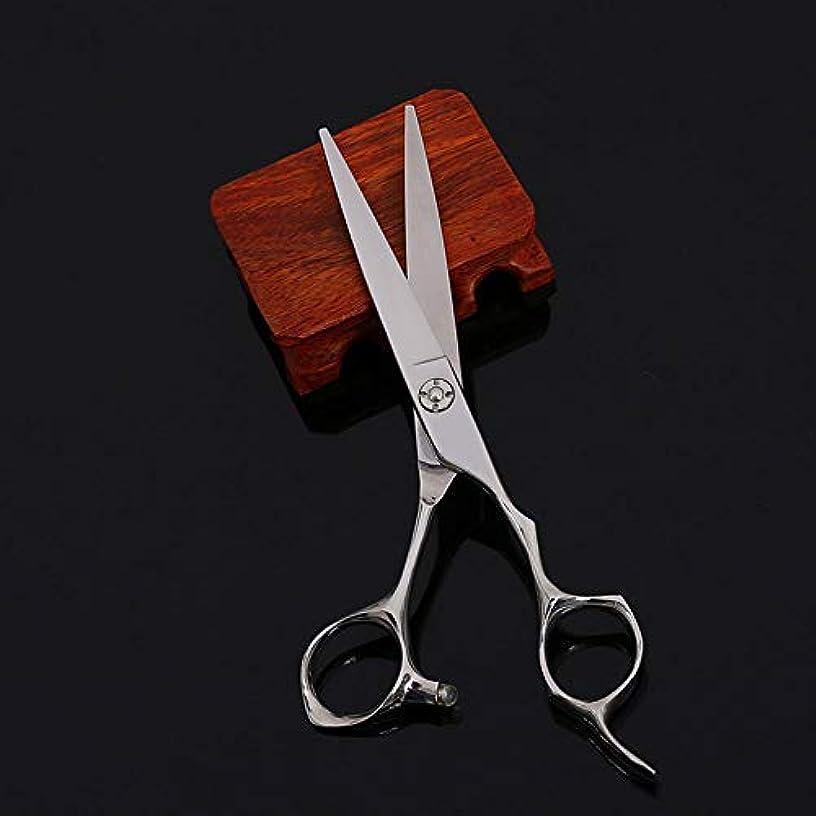 サロン種パウダー6インチプロフェッショナルヘアカットフラットハサミ、ヘアサロン、家庭用理髪ツール モデリングツール (色 : Silver)