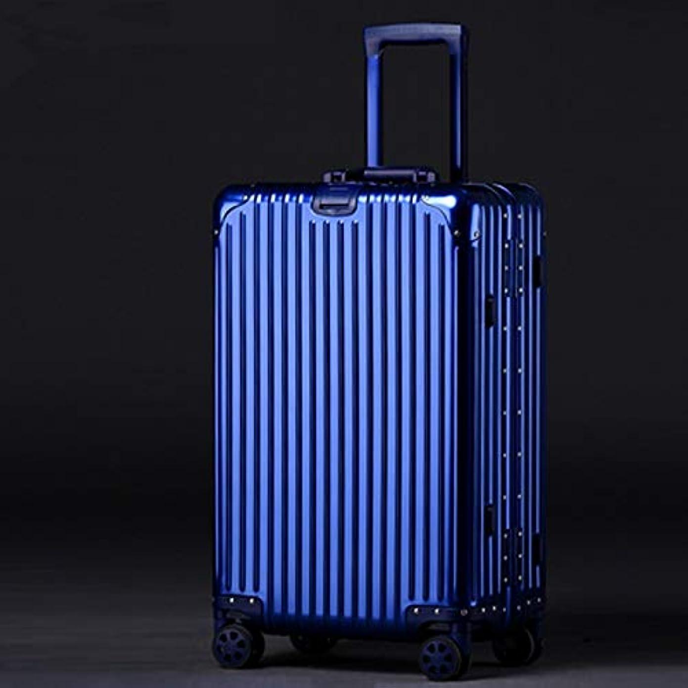 世界記録のギネスブック協定打ち負かすJTWJ 旅行荷物トロリー男女兼用韓国アルミニウムアルミニウムマグネシウム合金ユニバーサルホイール荷物大容量ロックボックス (色 : 青, サイズ さいず : 24inch)