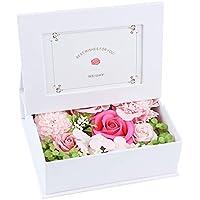 ソープフラワー 写真立て フラワー フォトフレーム ボックス 写真入り 誕生日 プレゼント 母の日 敬老の日 ギフト 枯れない花 フラワーアレンジメント (ピンク・白フレーム)