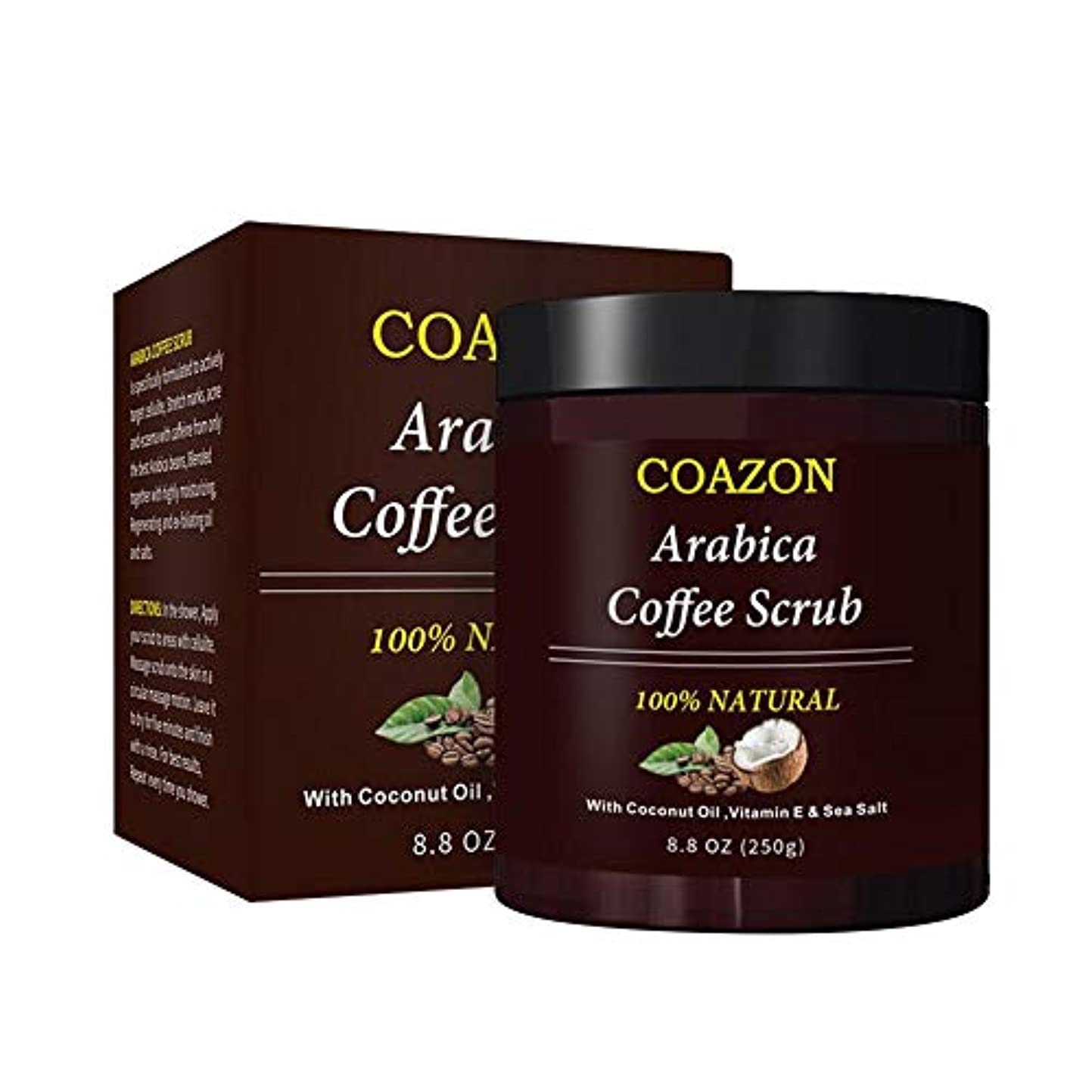アルミニウム中湿気の多いColdwhite ボディースクラブ 角質除去ホワイトニング保湿抗セルライト治療のためのコーヒー介護者の自然死海塩クリーム 240g