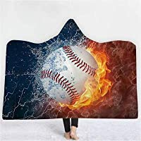 POBPOP New Blanket 3D Hooded Blankets Printing Sports Baseball Basketball Football Fire Rugby Blankets Wearable Home Adults Portable (8)