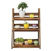 木製の花の棚、3層植物の陳列台、庭の家の花のバルコニー収納棚、リビングルームの寝室のバルコニーの装飾フロアスタンド