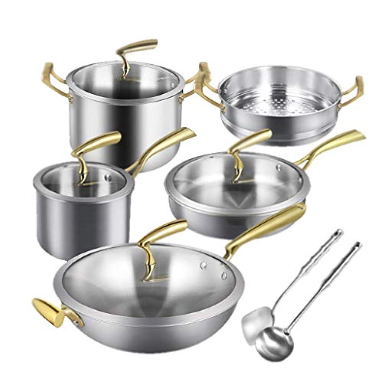 警察イヤホンクモ調理器具セットの組み合わせ304ステンレス鋼の鍋ノンスティックパン家庭用キッチンセット (Color : Silver)