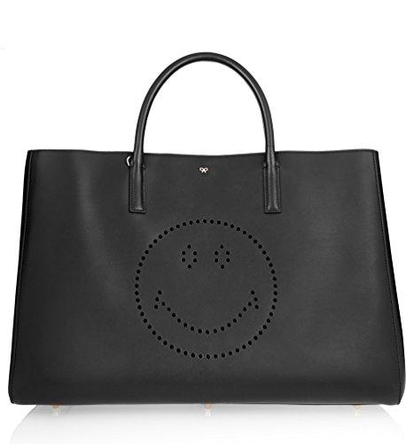 【アニヤハインドマーチ】 Anya Hindmarch Ebury Maxi Smiley Leather Tote Bag スマイルレザートートバッグ 【並行輸入品】 BONBOTTE