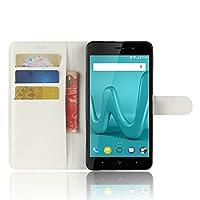 AIYOPEEN wiko lenny 4 plus 専用 PU レザー ケース 手帳型 カバー カード収納 ケース(ホワイト)