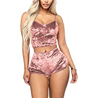 MogogN Womens Sleeveless Crop Top and Shorts Tracksuit Sexy 2-Piece Suit