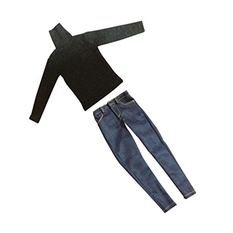 Lovoski ドール用 男の子 1/6 長袖 ハイネック Tシャツ ジーンズ セット 服 12 インチ男性フィギュア人形適用