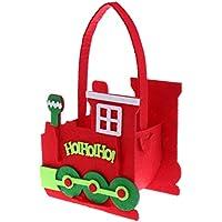Lovoski フェルト製 クリスマス ハウスデザイン トートバッグ ハンドル付き ポケット 子供 誕生日 ホリデー ギフト 全2デザイン