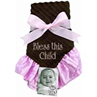 Sue Berk Designs Bless This Child Baby Blankie, Pink/Brown by Sue Berk Designs