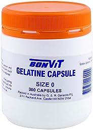 Bonvit Empty Gelatine 300 Capsules, 0, 300 count