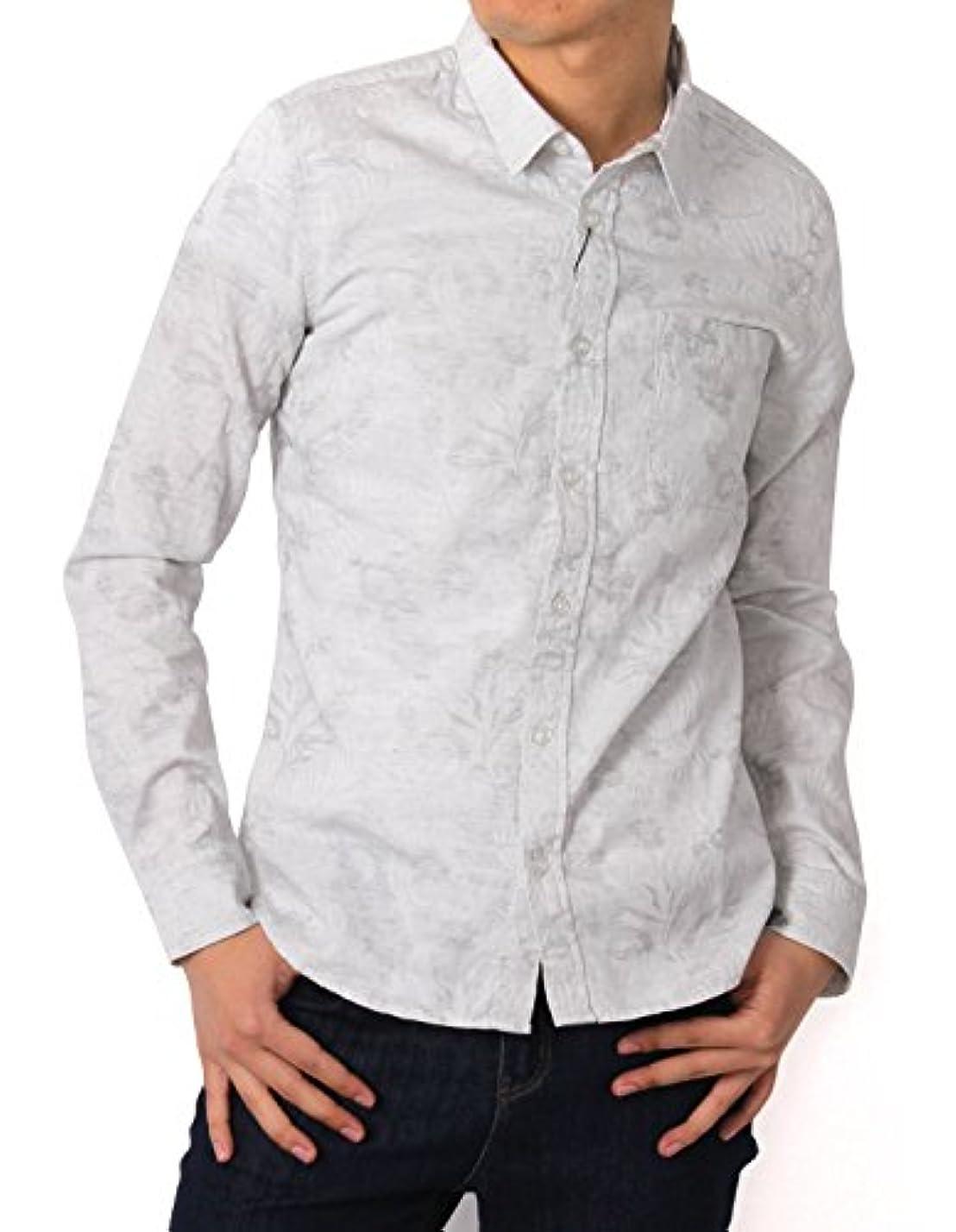 許可コア平手打ち[REPIDO (リピード)] シャツ メンズ 長袖 ジャガード 柄シャツ リゾート アロハシャツ