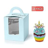 窓付きカップケーキボックス 1個、カップケーキ用ギフトボックス 24個、ウェディングデコレーション、パーティーの記念品、レザーカラー ブルー
