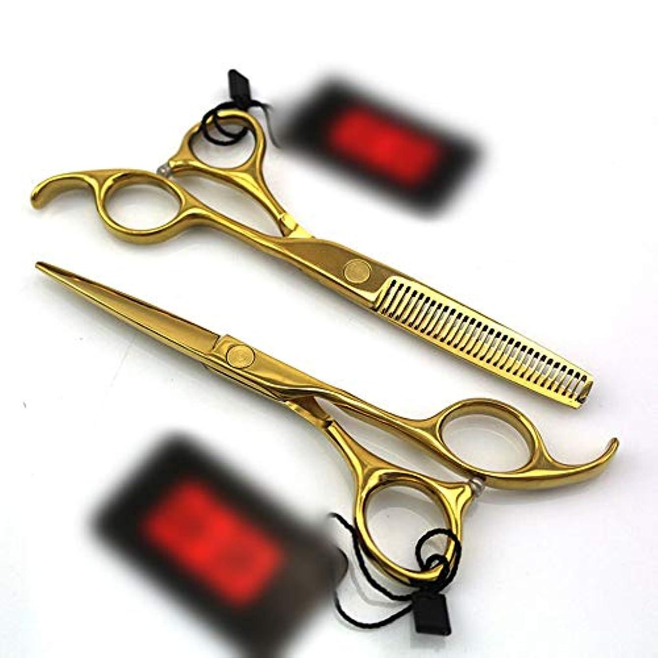 保安前に最初5.5インチのまっすぐなハンドルの理髪師のめっきの金の専門の理髪セット ヘアケア (色 : ゴールド)